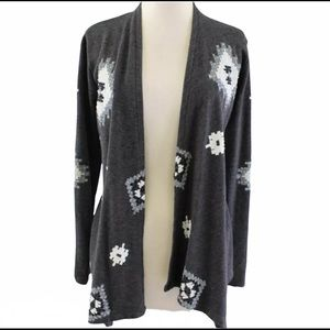 LUCKY BLISS Aztec print belted open duster